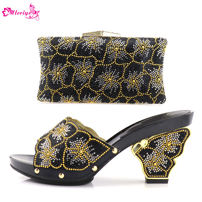 Italian Shoe and Bag Set for Party In Women Nigerian Women Wedding Shoes and Bag Decprated with Rhinestone Women Shoes High Heel aidocrystal unique design handmade gold crystal high heel platform shoe and bag set for wedding bridal party
