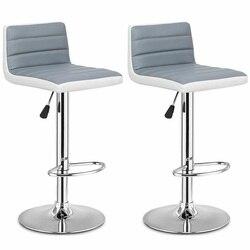 Высококачественный набор из 2 регулируемых серых стульев из искусственной кожи, Удобные вращающиеся на 360 градусов стулья HW54929