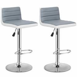 Высококачественный набор из 2 регулируемых серых PU кожаные барные стулья удобный регулируемый по высоте вращающийся 360 градусов стулья HW54929