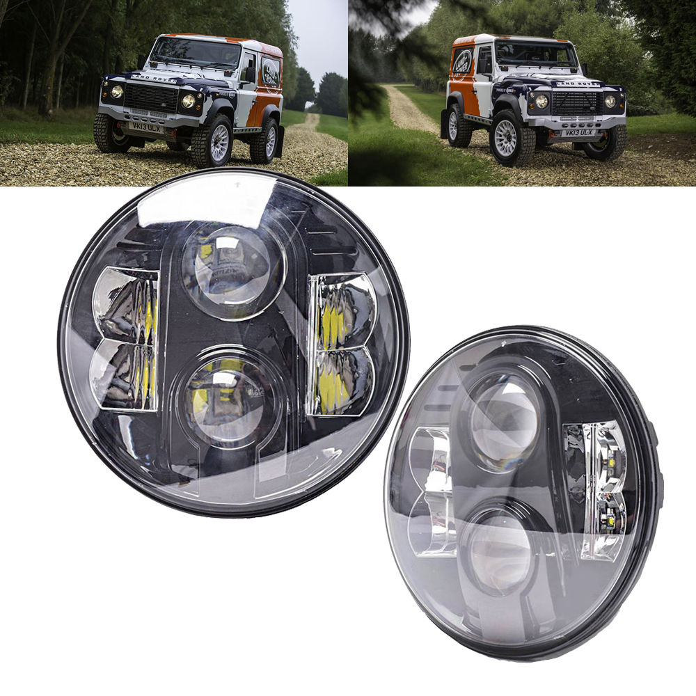 Trustful 7 Round 80w Led Headlight Projector H4 H13 With Hi/lo Beam & Drl Driving Headlamp For Jeep Wrangler Hummer H1 H2 Harley Moto Moderate Price Automobiles & Motorcycles