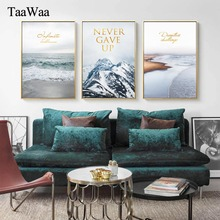 TaaWaa Natural Landscape Posters and Prints Motivational Gold Quote Wall Art Nordic Style Painting Picture For Living Room Decor