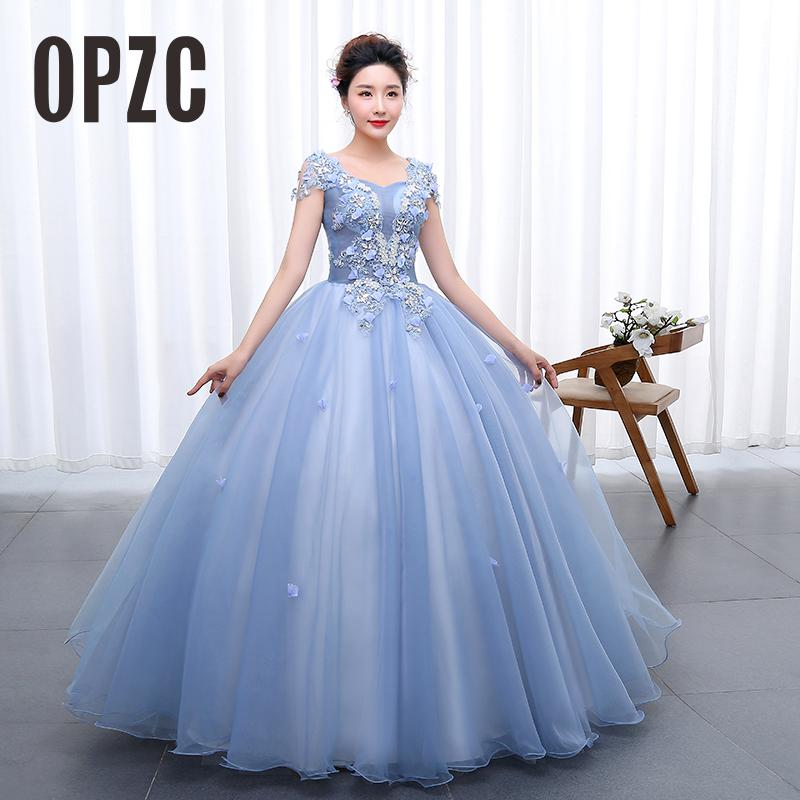 Lace with Crystal Color Yarn Girls Wedding Dress 2017 New Fashion Flowers Female Art Exam Gowns