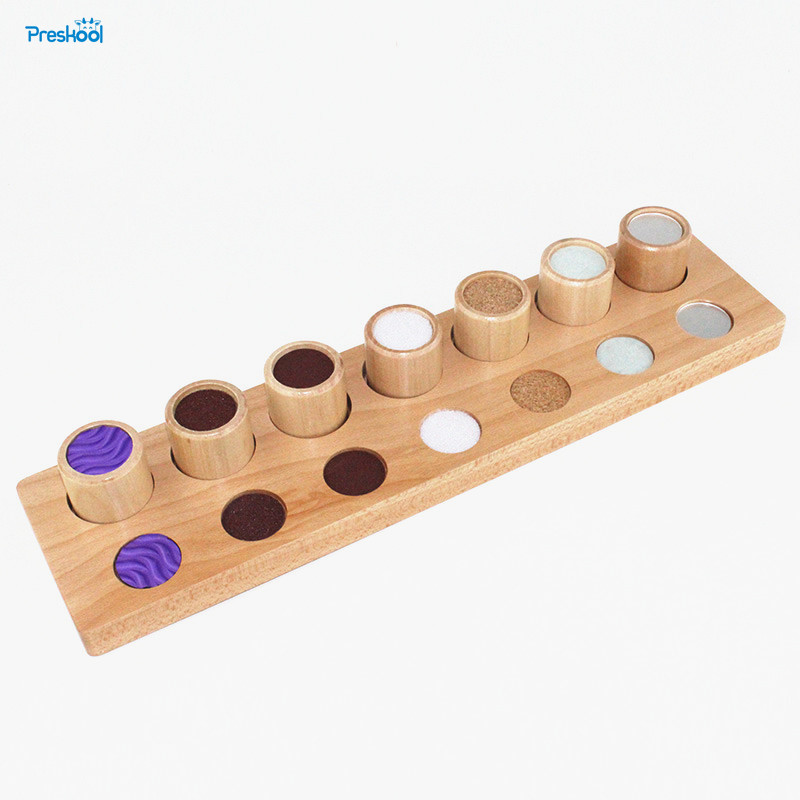Baby Toy Montessori Wood Texture Cylinders Touch Rough & Smooth Early Childhood Education Preschool Kids Brinquedos Juguetes new wooden montessori family version brown stair width 0 7 cm to 7 cm early childhood education preschool training baby gifts