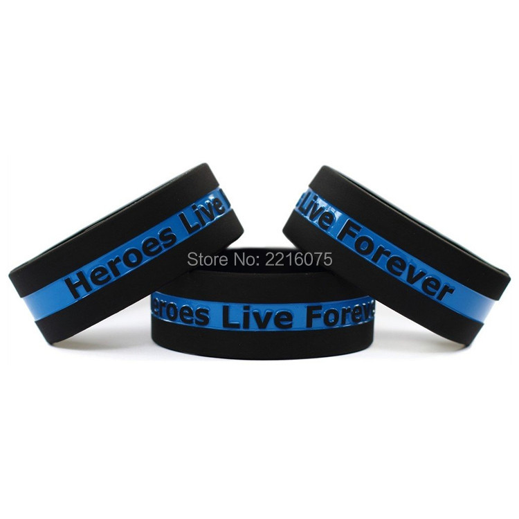 300pcs One Inch The Thin Blue Line with Heroes Live Forever wristband silicone bracelets free shipping by DHL express