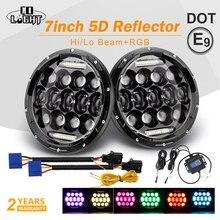 CO LIGHT 5D Multicolor 7 inch Led Headlight RGB 150W Custom Color Bluetooth Hi/Lo 12V 24V for Jeep Wrangler 4x4 Lada Niva