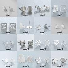 Chereda  Square Heart Snowflake Cat Umbrella Star Stud Earrings for Women Girls Minimalist Jewelry Accessories Gifts