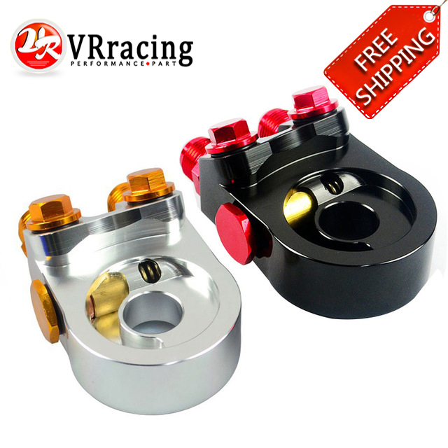 VR RACING FREE SHIPPING Aluminum AN10 OIL COOLER ADAPTER SANDWICH TURBO WITH Thermostat And FITTING 3