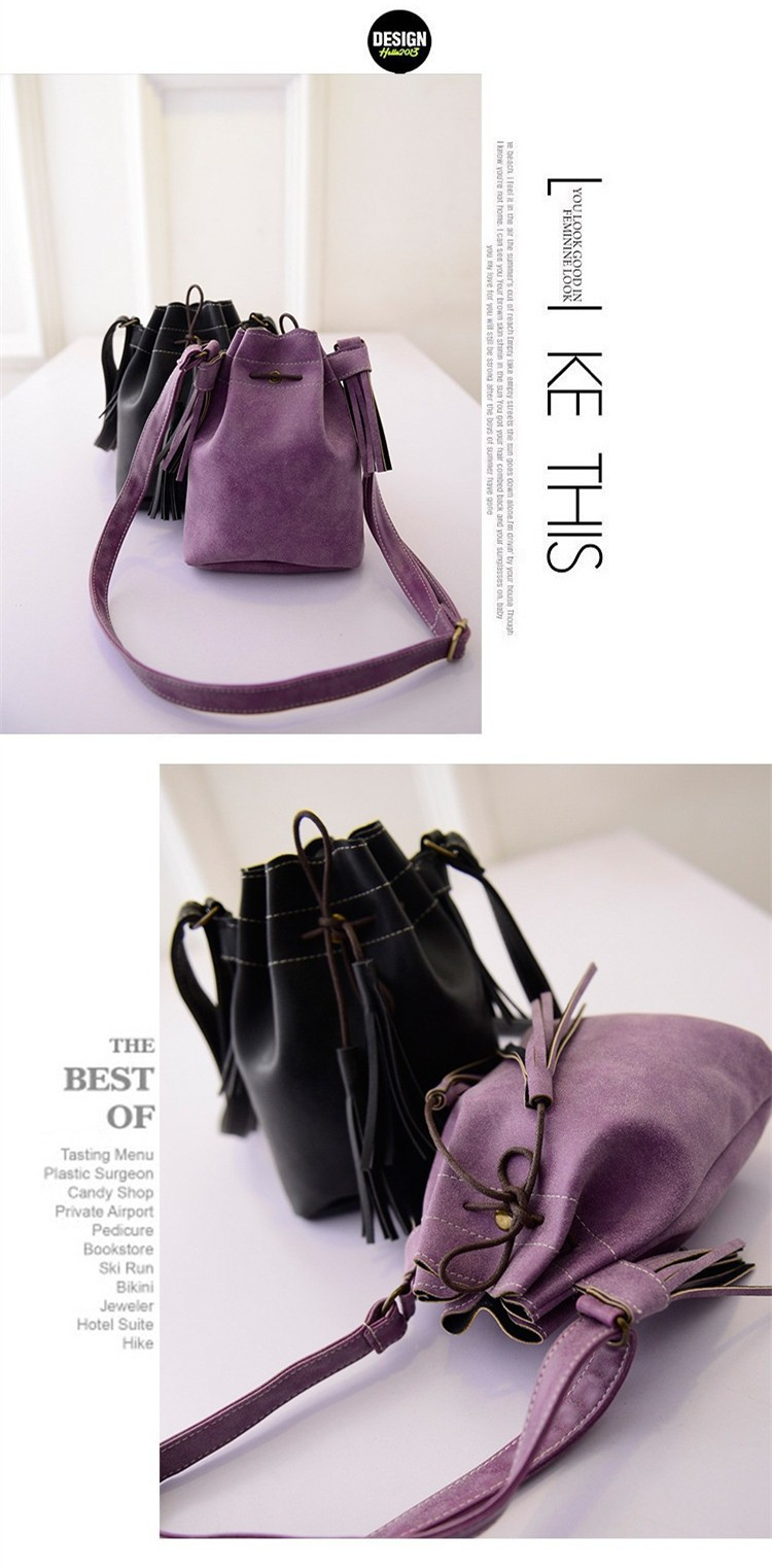 Vintage Bucket Women Shoulder bags Fashion Tassel bags Small Women messenger bags Spring Handbags Tote bolsas femininas BH237 (5)