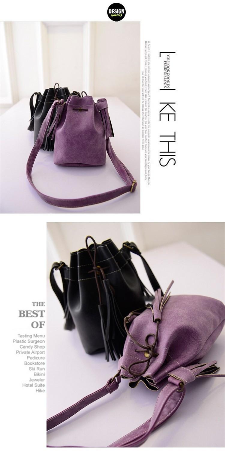 Vintage Bucket Women Shoulder bags Fashion Tassel bags Small Women messenger bags Spring Handbags Tote bolsas femininas BH237 (5)