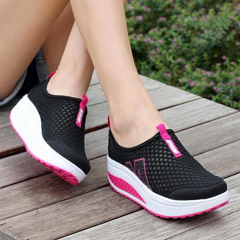 Sapatos de moda feminina malha plana tênis sapatos de plataforma mocassins respirável malha de ar swing cunhas sapato respirável apartamentos