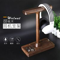 wooden Headphone Stand Gaming Headset Holder, Universal Desk Headphone Mount Storage Table Display Rack for All Headphone Sizes