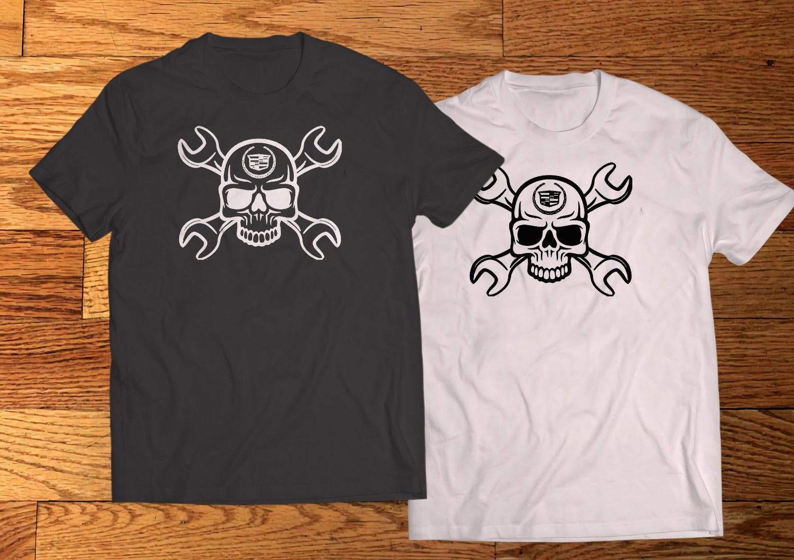 New Cadillac999Caddy SKULL JDM RacingED Black & White T-Shirt tee New Man Design T-Shirt Print