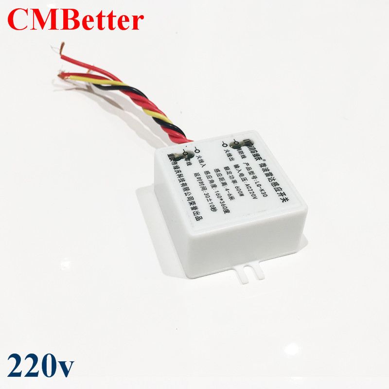CMBetter AC220V-240V Microwave Radar Sensor Body Motion Detector switch AC220V  For LED Light xsav11801 inductive proximity switch speed sensor motion rotate detector 0 10mm dc ac 24 240v 2 wire 30mm replace telemecanique