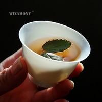 6PCS!!!! WIZAMONY Jingdezhen Drinkware Tea Cup tea set tea bowl White Ceramic kung fu teacups Chinese Porcelain Celadon Hat Bowl