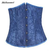 3b1952bc91d4f Women Lace Up Sexy Blue Corset Shaped Karset Bustier Jacquard Solid blue  Floral Push Up Sexy