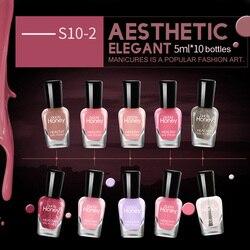 2018 New High Quality 10 Pcs/Set Nail Polish Pure Color Soak Off Nail Gel Art Lacquer Semi Permanent Manuicure Varnish