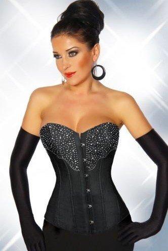 Long Fashion Overbust Black with Diamond corset Wedding