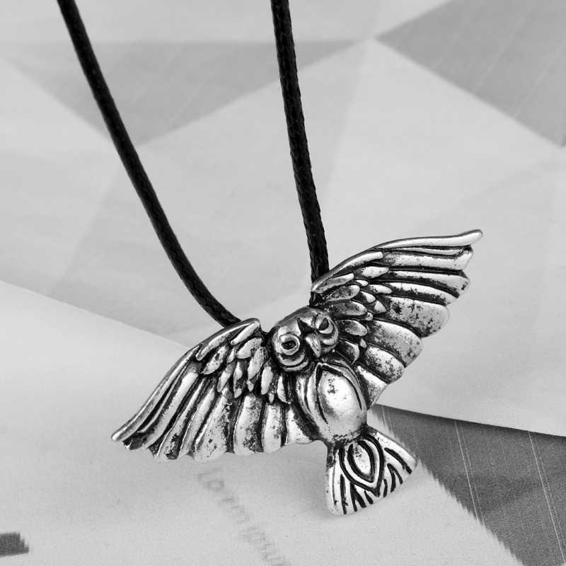 Dongsheng норвежский викинг сова кулон под старину Серебряный, с животными ожерелье с птицей Кулон амулет Ожерелье Веревка Цепь Викинг колье подарок-30