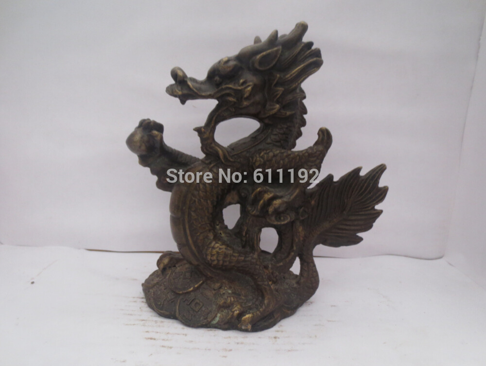 Old Bronze Hand Carved Dragon Sculpture Metal Crafts,Home Decoration Antique Animal Statue