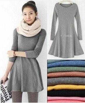 Fashion Clothes Vestidos Women Dress 2018 Spring Autumn Winter Dress Female 100% Cotton O-Neck Long Sleeve Dress Woolen Dresses 1