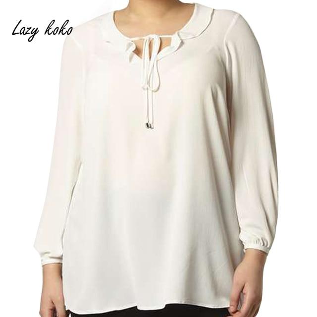 d5104464ae72f5 Lazy KoKo Women Plus Size New Fashion Clothing Long Sleeve Slim White Blouse  Lace-up Neck Loose Chiffon Tops Big Lareg Size
