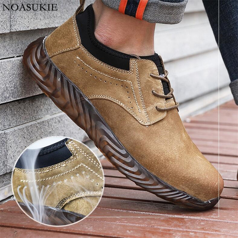 Summer Men Fashion Safety Shoes Non Slip Oxford Soles Cow Suede Breathable Work Shoes Anti Smashing Puncture Steel Toe Shoes in Work Safety Boots from Shoes