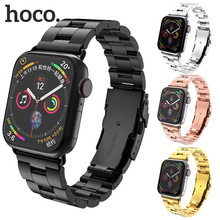 HOCO Folding Clasp Stainless Steel Strap for Apple Watch 4/3/2 Double Insurance Buckle Band Bracelet IWatch 44mm 42mm