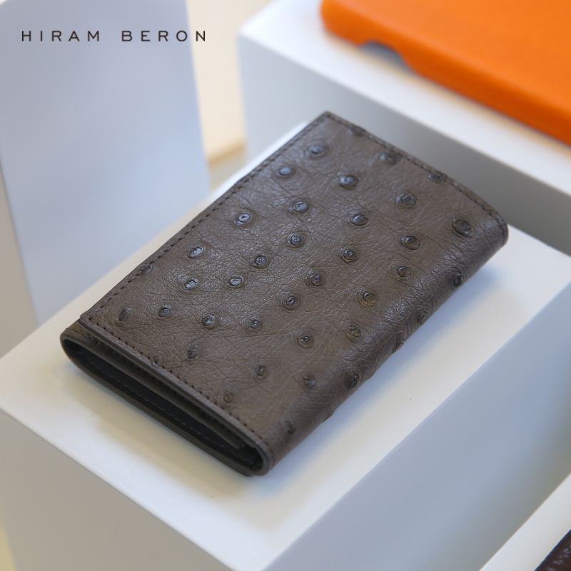 Hiram Beron Leather Business Card Holder Men Customized Ostrich Leather ID Holders Large Capacity Card Wallet