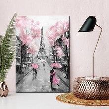 Pink Umbrella Rainy Landscape Canvas Print Romatic Couple Paris Iffel Tower France Wall Art for Lobby Office Room Decor Dropship