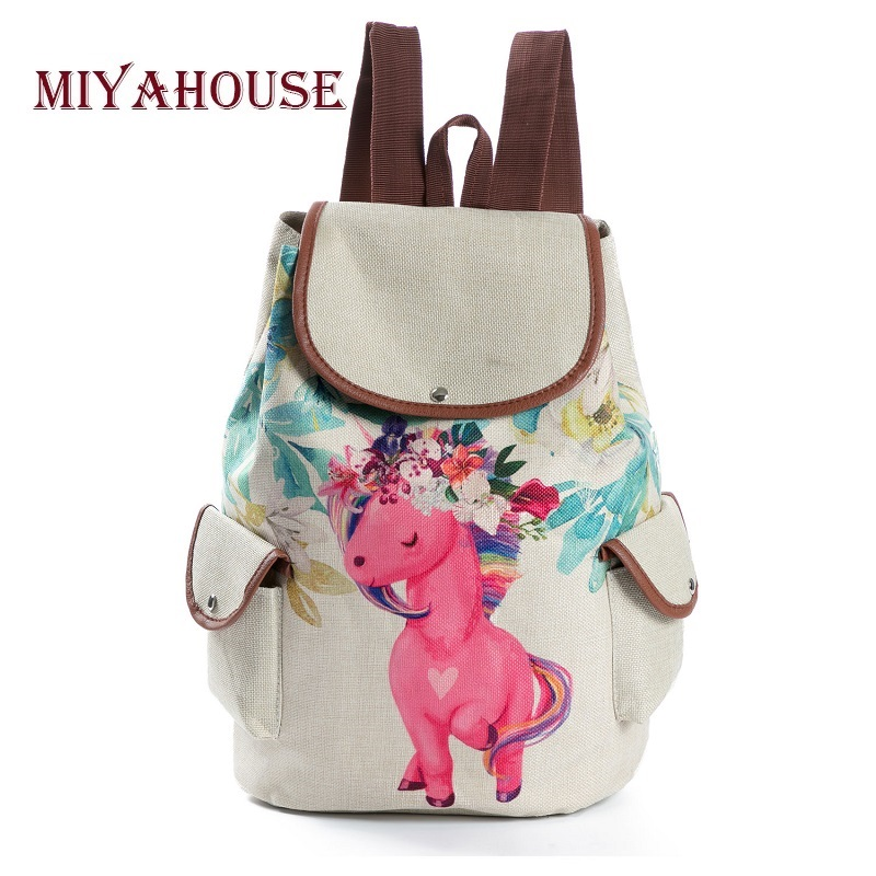 Miyahouse Cartoon Animal Printed School Backpack For Teenage Girls Drawstring Linen Design Backpack Female Travel Rucksack