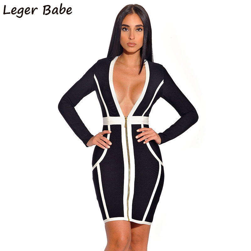 d91f3cee7c157 FH08 New Design Fashoin 2019 Plunging Neckline Long Sleeve White and Black  Patchwork Bandage Mini Short Party Dresses Women
