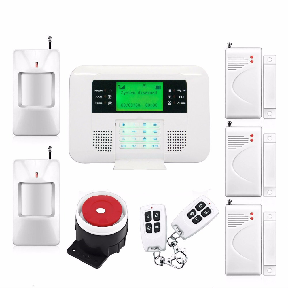 Intelligent English Russian Spanish Voice Dual-Network GSM PSTN Alarm System Security Home PIR Detector Door Sensor Kit