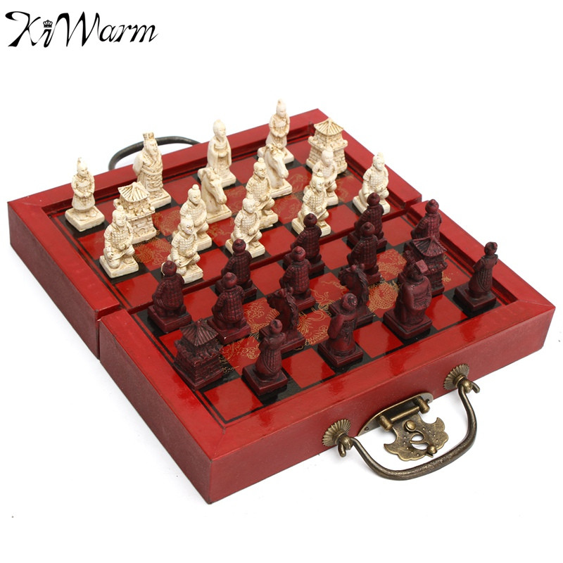 kiwarm vintage decor craft chinese antique figurines chess set