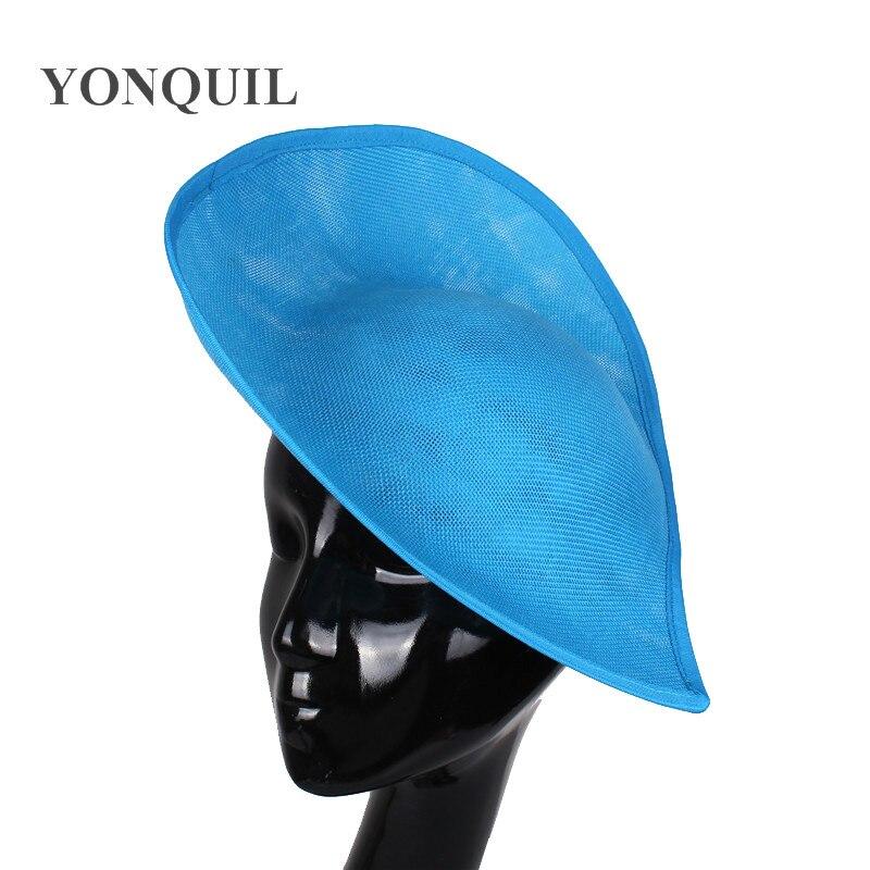 Imitation Sinamay Sea Blue Fascinator Base For Women DIY Hair Accessories Bridal Married Wedding Party Church 5pcs/lot SYB05