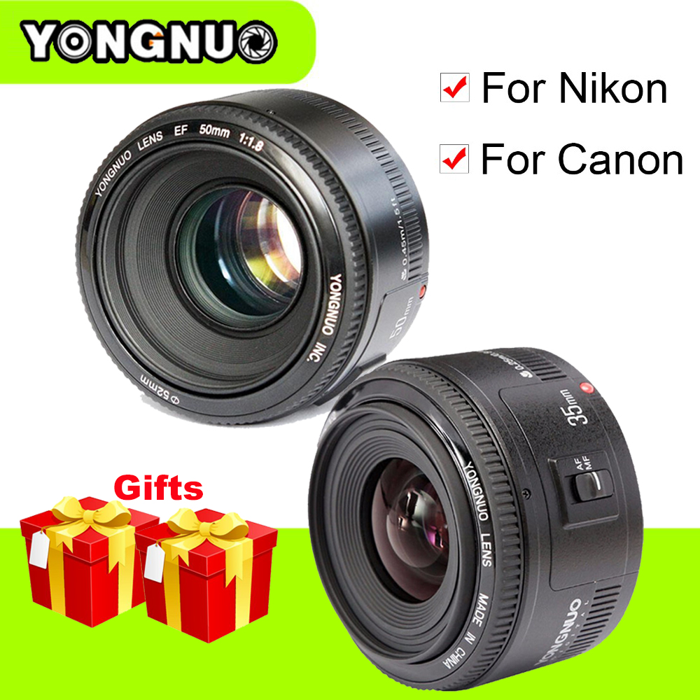 Yongnuo YN35mm F2 Wide-angle Large Aperture Fixed Auto Focus Lens YN50mm F1.8 Lens For Canon Nikon D7100 D3200 D3300 D3100 D5100 yongnuo 35mm camera lens f 2 af aperture auto focus large aperture for nikon d5200 d3300 d5300 d90 d3100 d5100 s3300 d5000