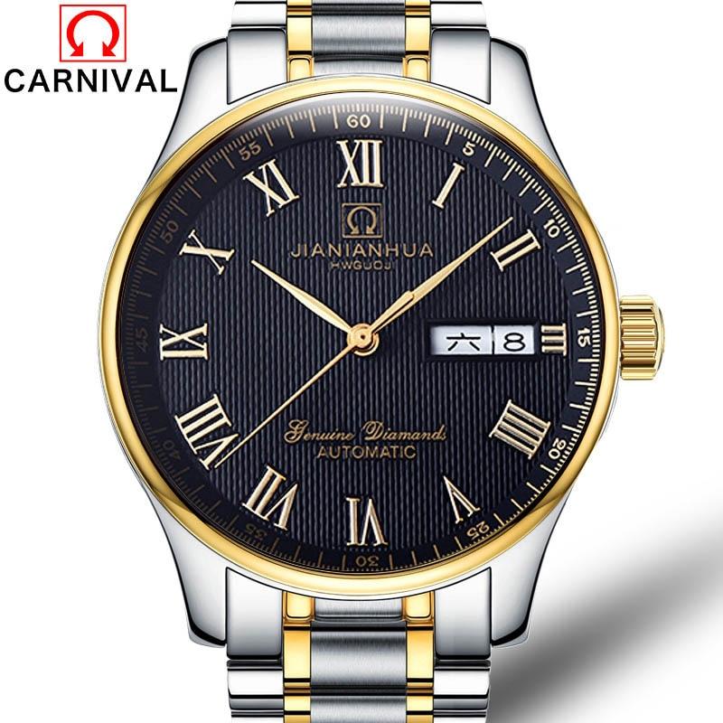 Carnival Watch men Stainless Steel Automatic Mechanical Luminous Waterproof Week date Black Dial Roman Watches все цены