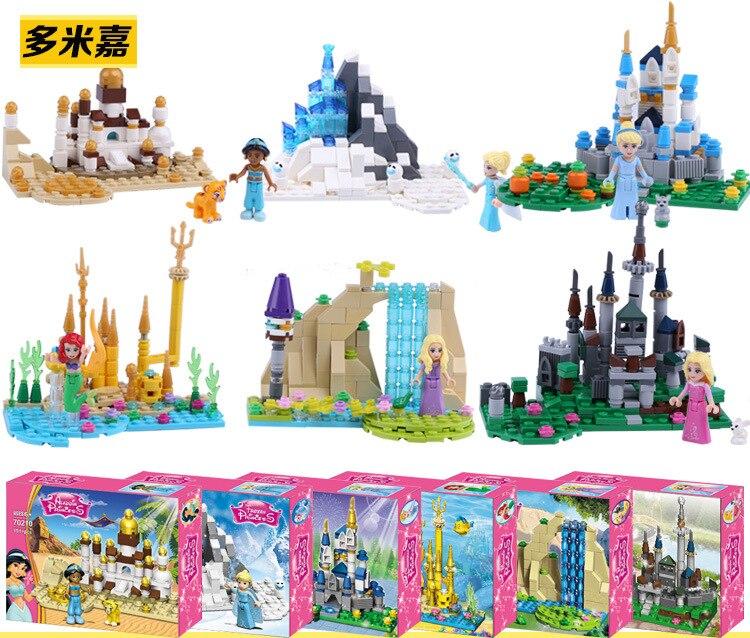 6pcs Princess Aurora Cinderella Ariel Rapunzel Bella Elsa Building Block Figure Girls Compatible With Lego