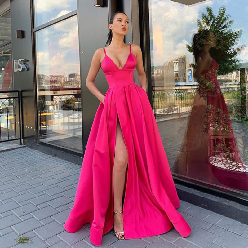 Simple Long   Prom     Dress   With Pockets V-neck Front Split Fuchsia Satin Formal Party   Dress   2019 Sexy Spaghetti Straps   Prom   Gowns