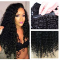 """Clip In Human Hair Extensions 10PCS Peruca Cabelo Humano Kinky Curly Virgin Hair Clips Ins 10""""-26"""" Mongolian Kinky Curly Hair"""