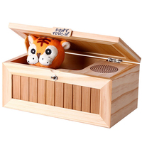 Wooden Audio Edition Don't Touch Useless Box with Lovely Tiger Funny Toy Gift for Birthday Christmas Free Time