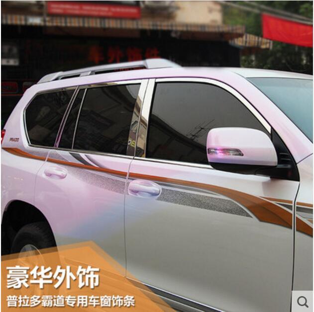 22pcs Door Window Frame Pillars Sill Molding Trim For Toyota Prado F150 2010 2011 2012 2013 2014 2015 2016 2017