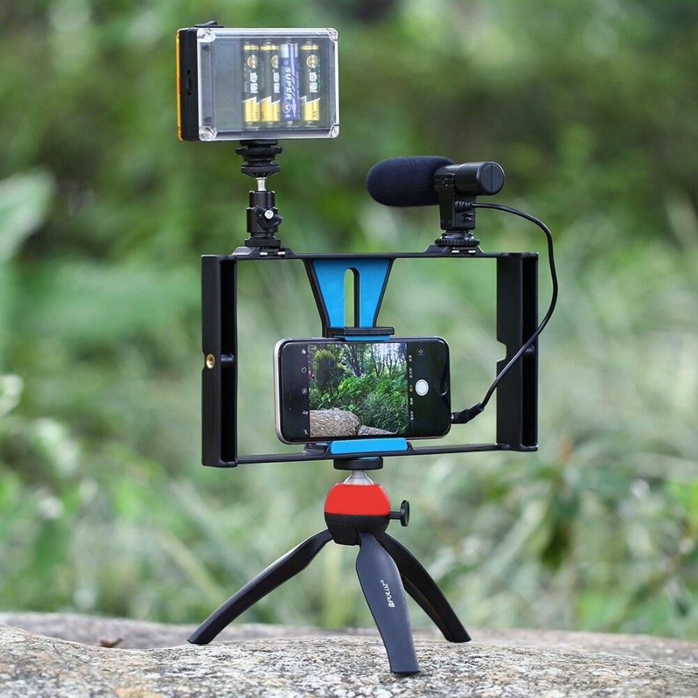 5 PZ/SET Macchina Fotografica di Sport Equitment Smartphone Video Rig + LED Light Studio + Scarpa Freddo Testa + Microfono + Mini treppiede