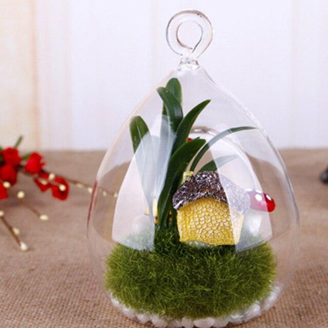 Soledi Hanging Glass Vase Ellipse Hanging Terrarium Glass Vase
