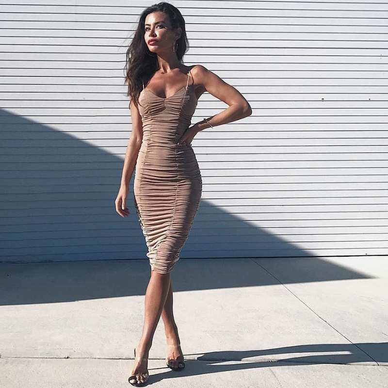 Sexy Sheerness Ruched Bodycon Party Dress for Women Bandage Spaghetti Strap Backless Black Summer Night Club Dress Female Dress