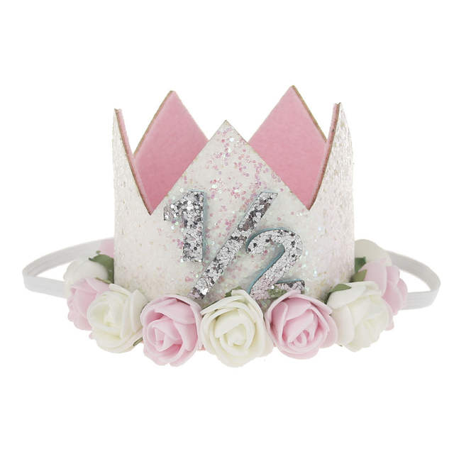 c5f092794a2 Online Shop Baby Princess Tiara Crown Kids First Birthday Hat Sparkle Gold  Flower Style 1 2 Style White  Flower Headband Girl Party Headwear