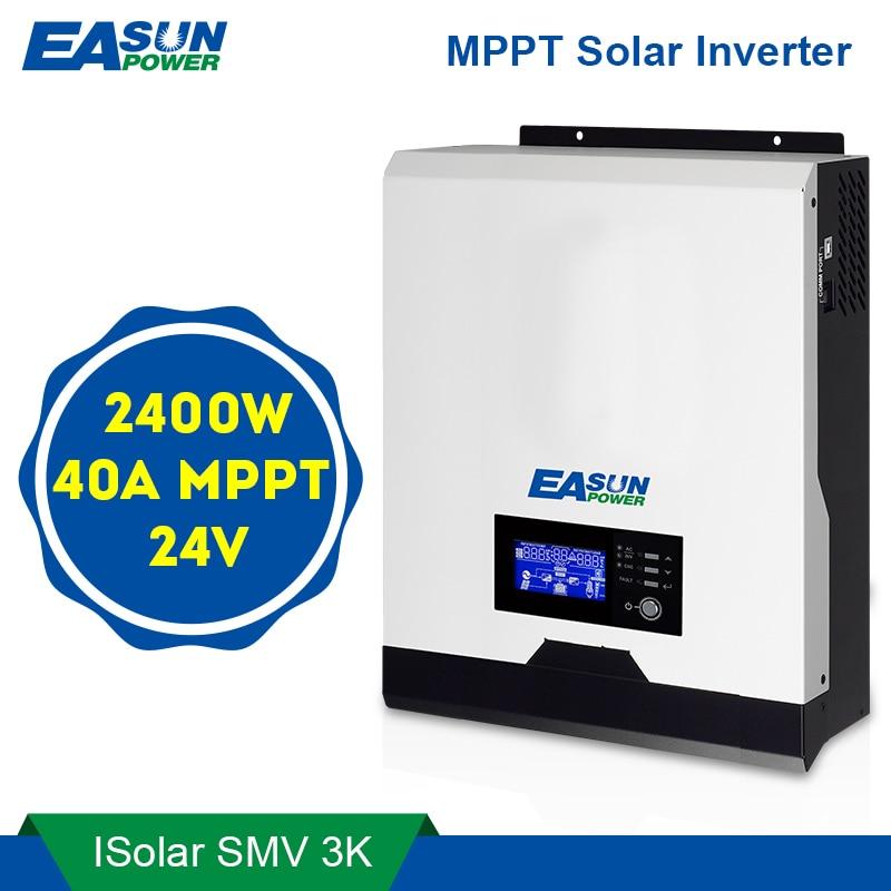 EASUN POWER 2400W Solar Inverter 220V 40A MPPT 3Kva Pure Sine Wave Inverter 50Hz 60HZ Off
