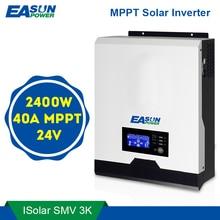 Easun power 2400w inversor solar 220v 40a mppt 3kva onda senoidal pura inversor 50hz 60hz fora da grade inversor 24v carregador de bateria