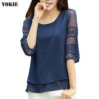 Women Blusas Lace Half Short Sleeve Chiffon Blouses Shirts Women Tops Causal Blusa Chemise Femme Plus