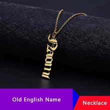 Custom Vertical Name Necklace Collier Bijoux Femme Personalized Old English Necklaces Pendants Jewelry Accessories