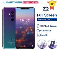 UMIDIGI Z2 Global Version 6.2″ FHD+ Full Screen Helio P23 6GB RAM 64GB ROM Quad Camera Android 8.1 3850mAh Face ID 4G Smartphone
